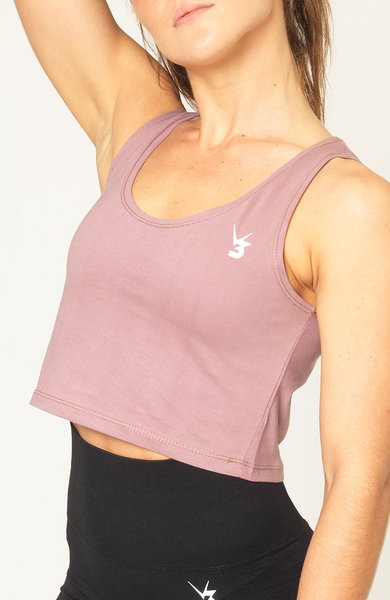 V3 Apparel womens logo deauville mauve workout gym cropped tank top