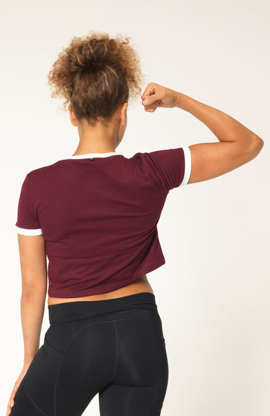 v3 apparel womens burgundy retro cropped fitness workout tank top