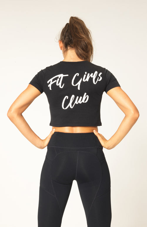 womens v3 apparel fit girls club slogan workout gym cropped top