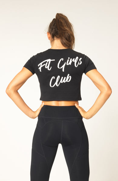 32ef601dbd53c6 Womens Fit Girls Club Fitness Workout Crop Tank Top Tee - Shop Womens  Fitness Clothing