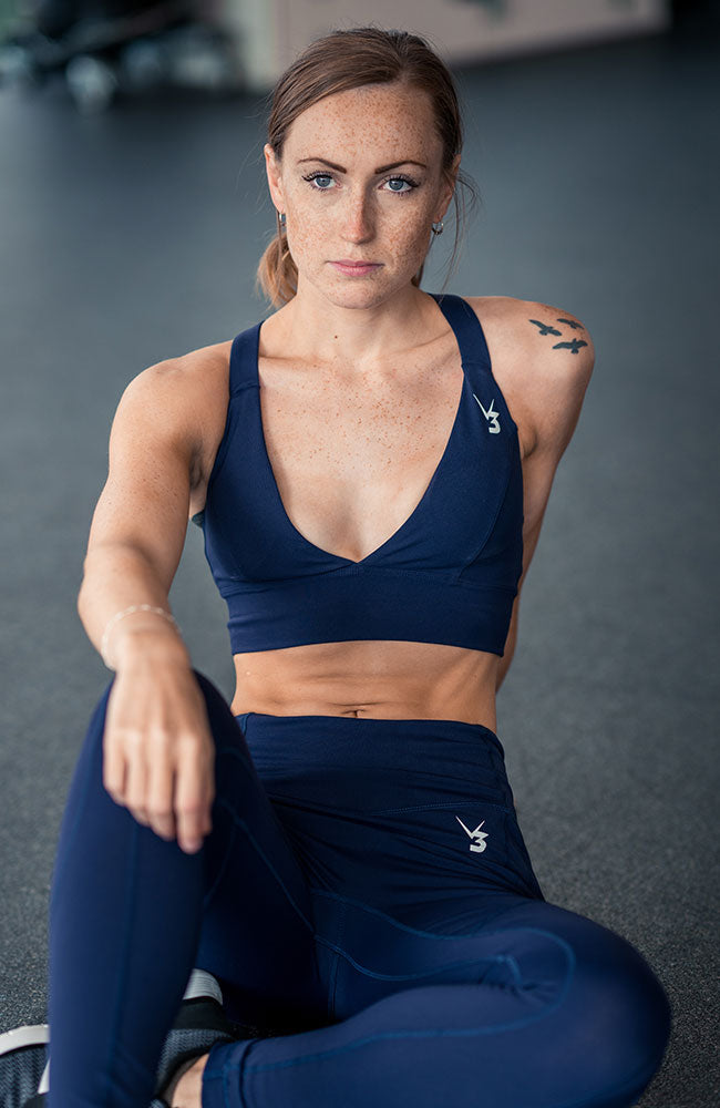 womens navy serenity sports bra with removable padding for fitness gym workouts by v3 apparel