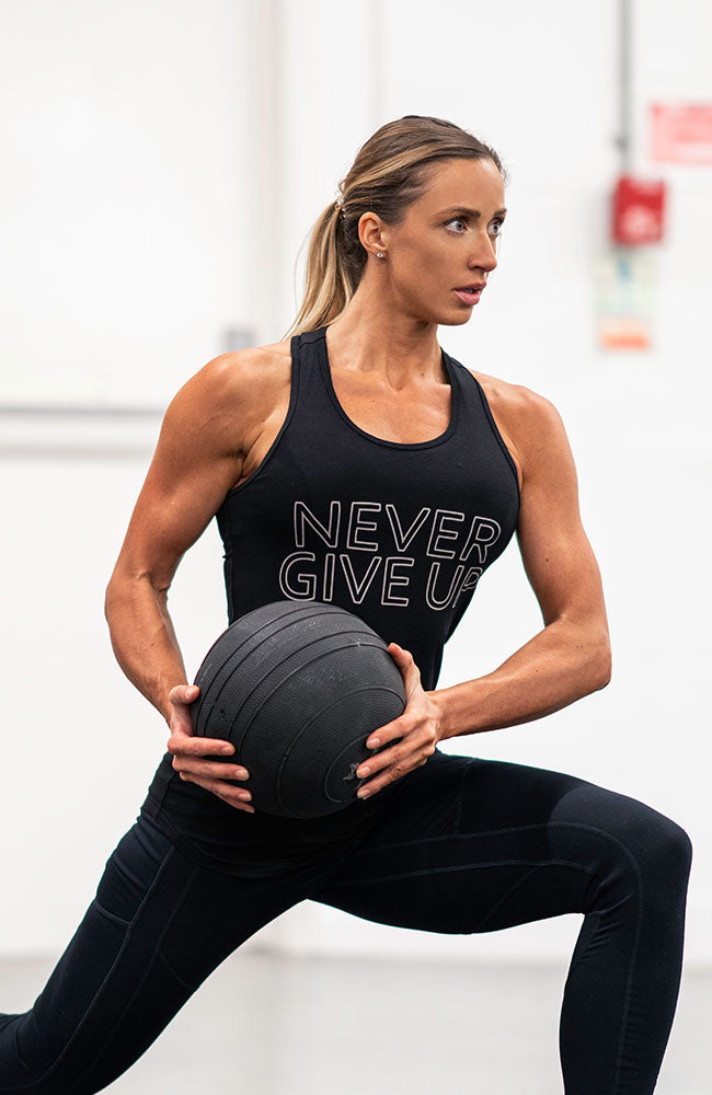 womens motivational never give up workout fitness tank top by v3 apparel