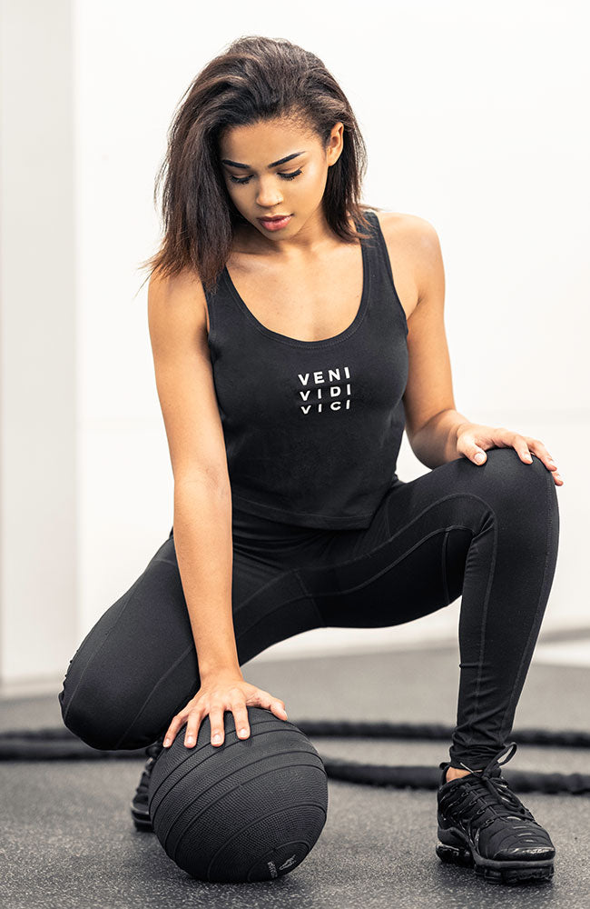v3 apparel womens veni vidi vici workout fitness slogan crop tank top by v3 apparel