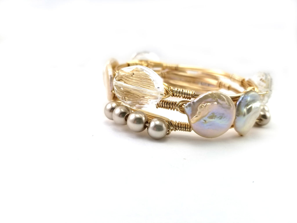 Keshi pearls and crystal set of 3 bangle bracelets
