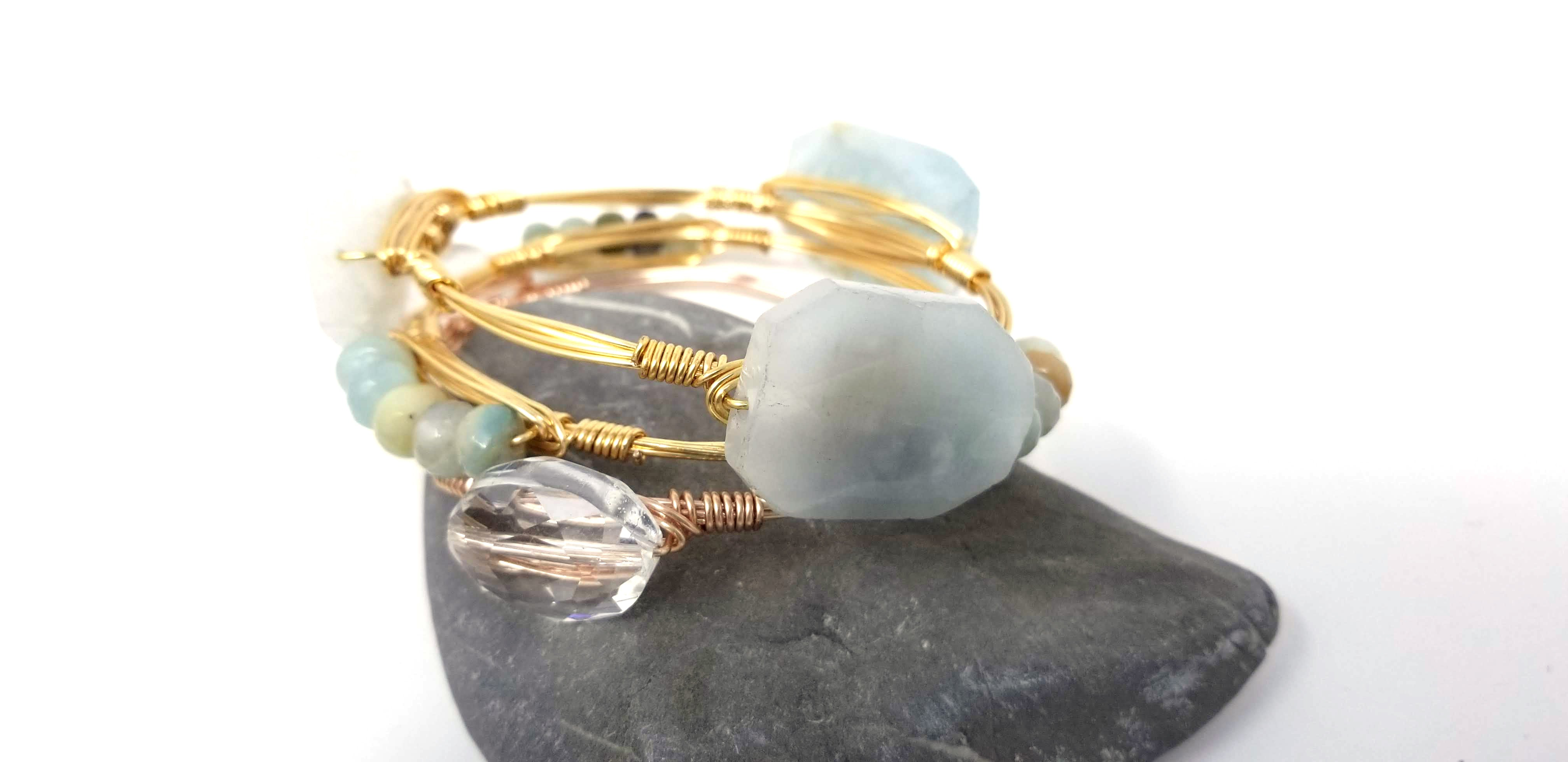 Aquamarine, amazonite and crystal bangle set