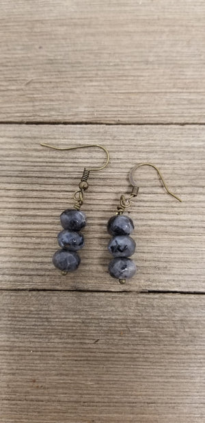Three stone drop earrings--Aqua terra jasper, labradorite, or amazonite