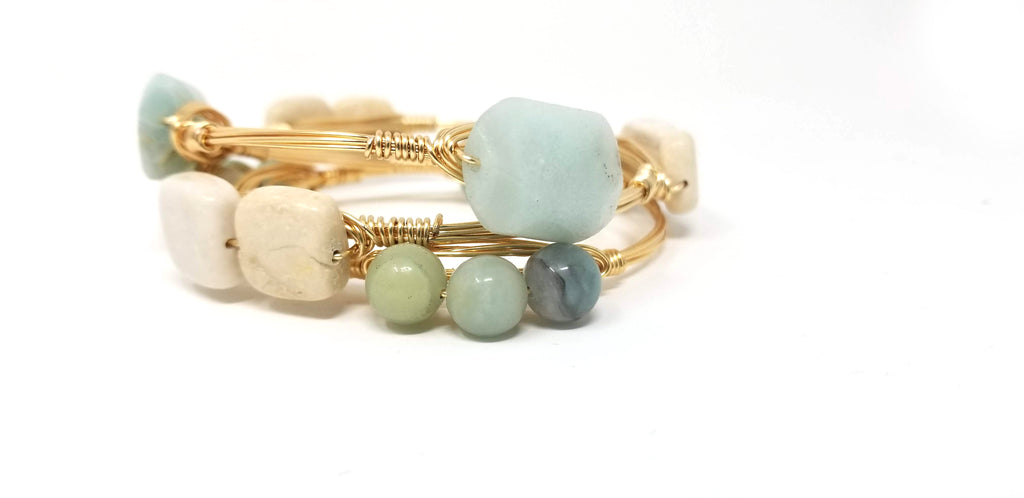 Amazonite bangle, amazonite cluster bangle, fieldstone bangle set