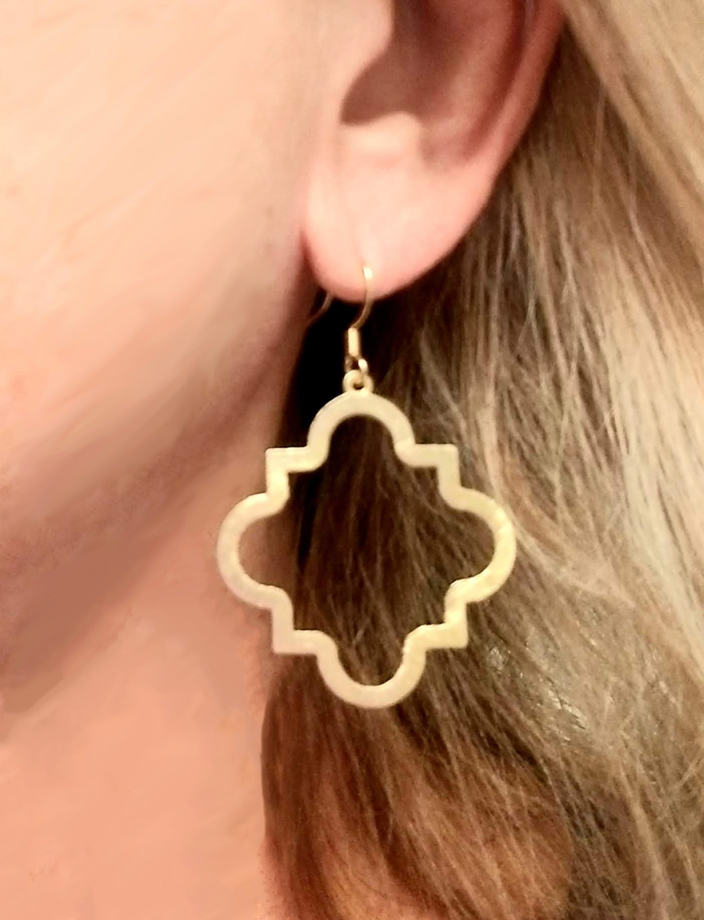 Brushed gold or silver quatrefoil earrings