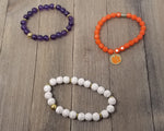 Clemson beaded bracelet set of 3 stretch bracelets, Clemson bracelets, Clemson game day jewelry, Clemson Tigers purple and orange bracelets