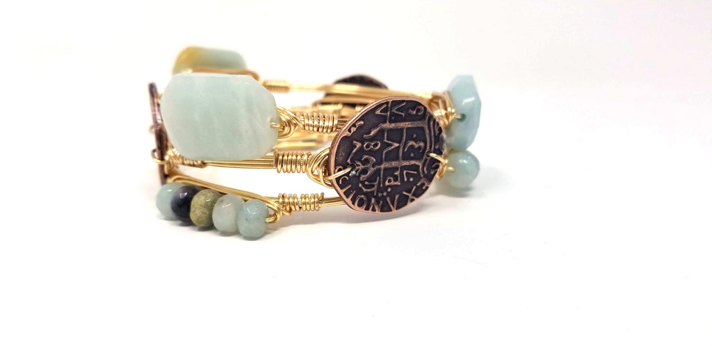 Amazonite bangle, amazonite cluster bangle, bronze coin bangle set of 3