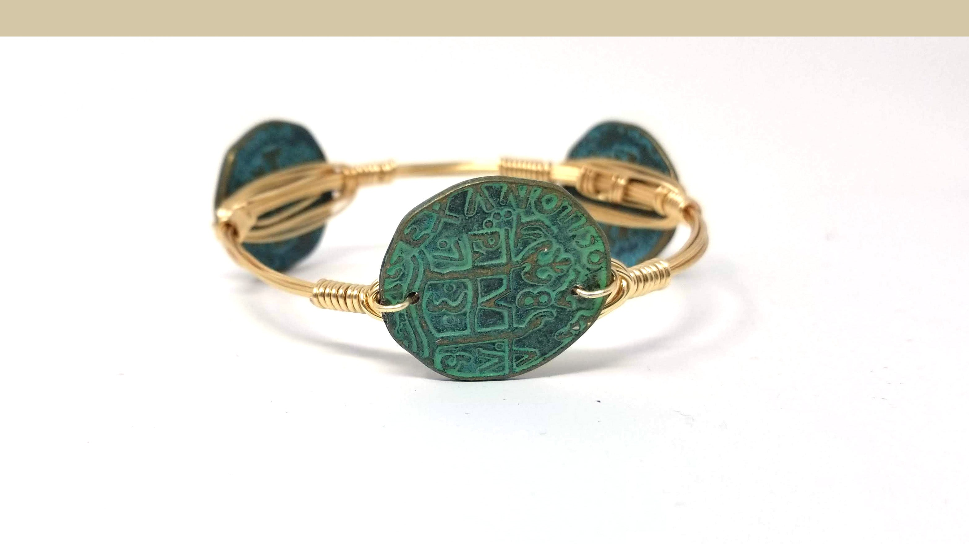 Coin bangle in green patina, bronze or silver