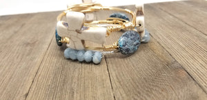 White cross bracelet,  blue jasper bangle,  aquamarine bangle set of 3