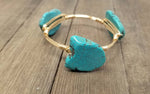 White cross bracelet,  turquoise howlite,  aqua terra jasper bangle set