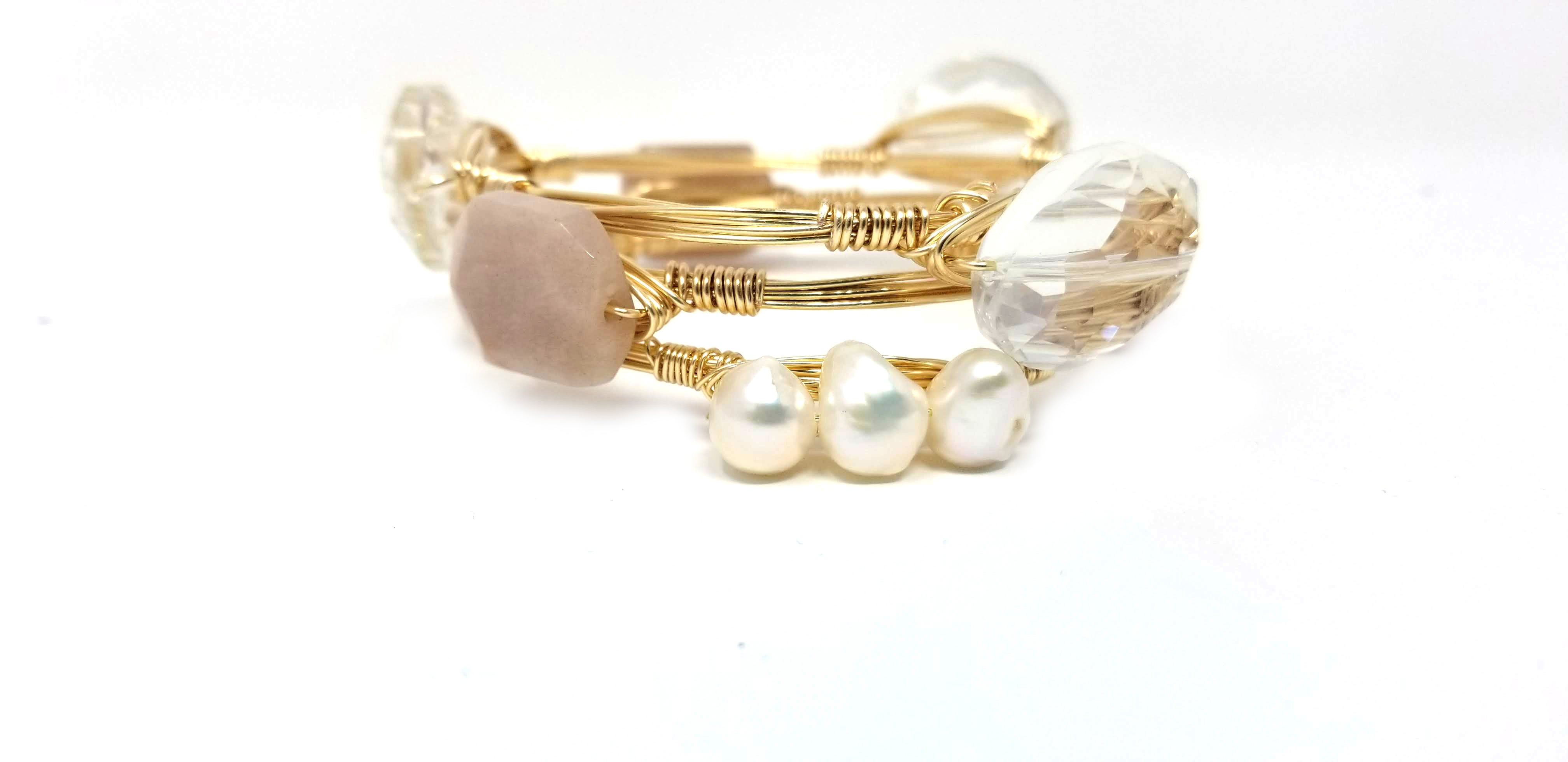Blush bangle set with fresh water pearl cluster bangle set of 3