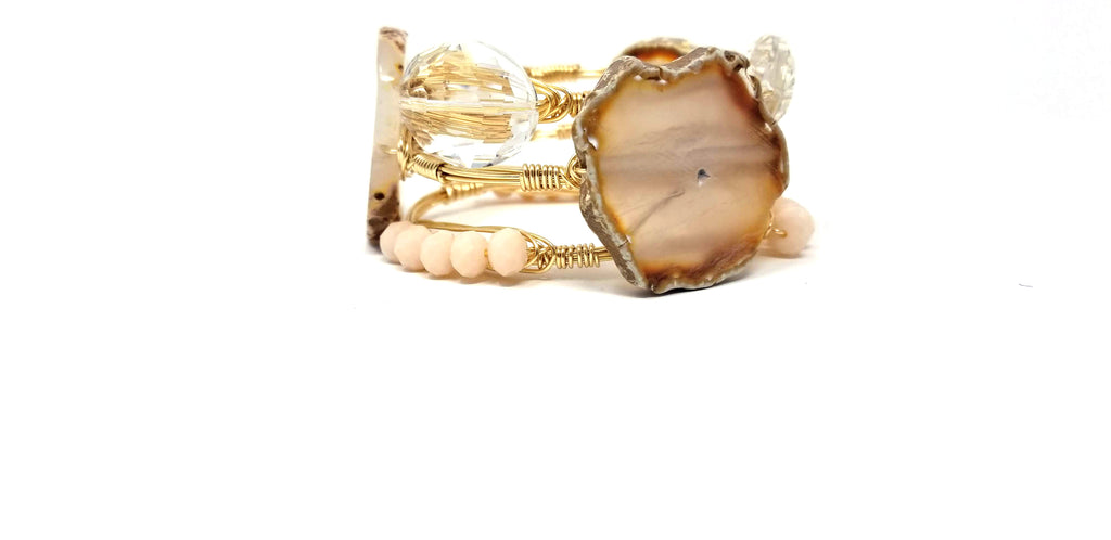 Neutral agate slice bangle, crystal oval bracelet, and white jade bangle set of 3 bracelets
