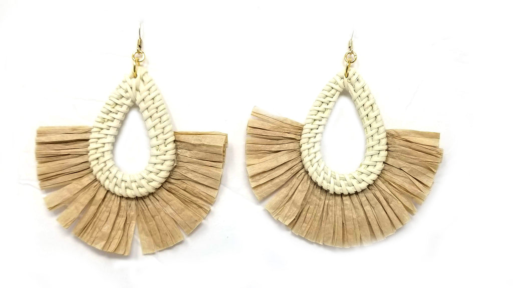 Rattan dangle earrings with raffia fringe