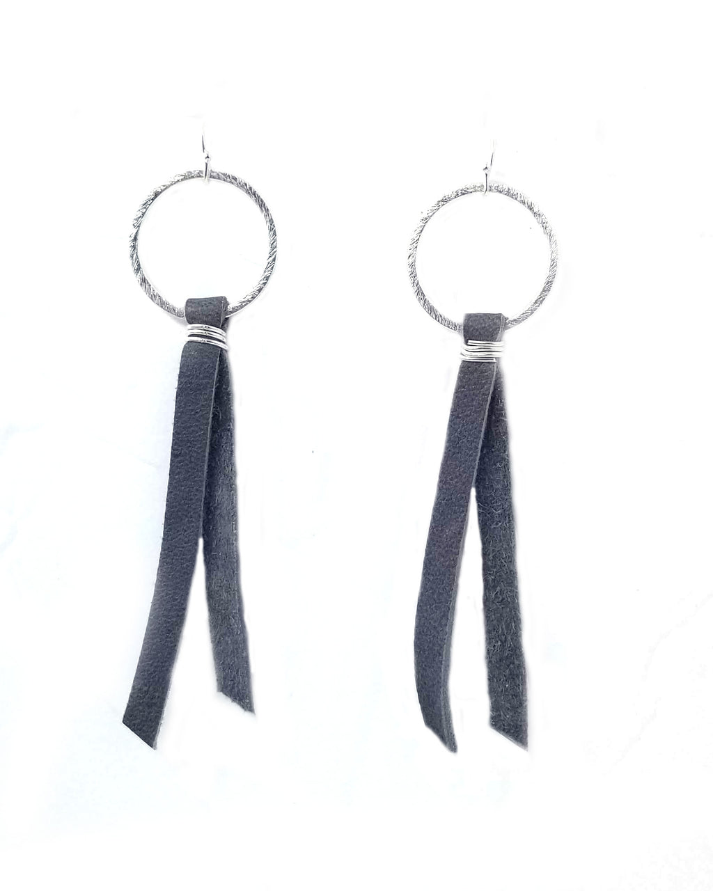 Brushed gold or silver hoop earrings with leather tassel