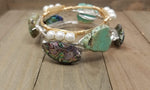 Abalone shell bangle, turquoise howlite, and pearl bracelet set of 3  bracelets