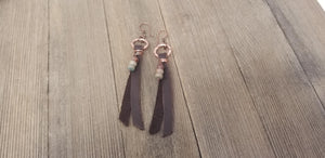 Copper hoop earrings with leather tassel and Aqua Terra Jasper bead cluster