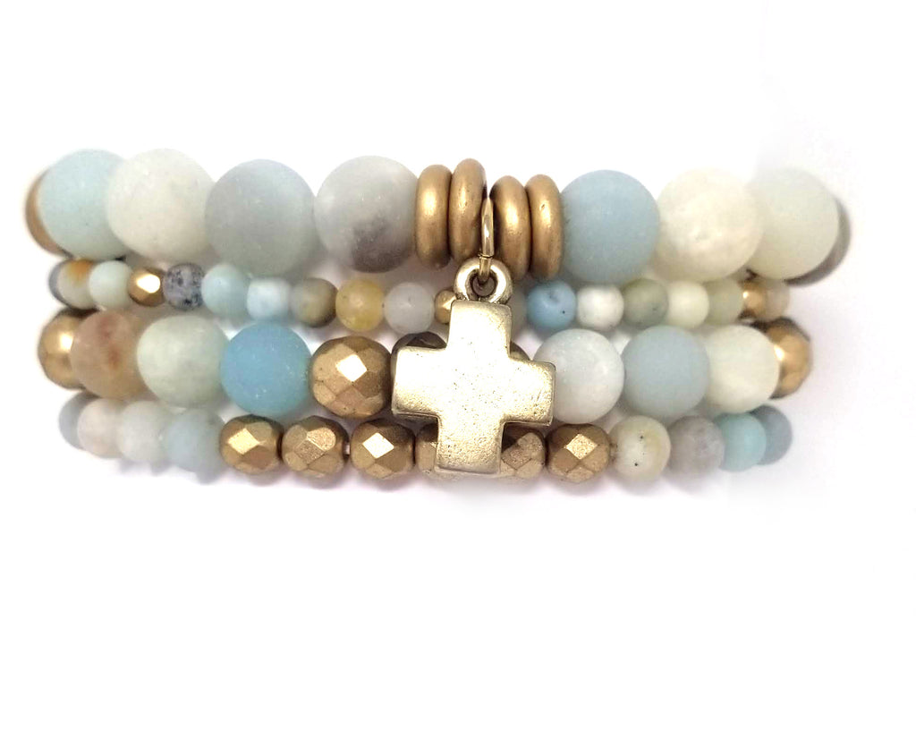 Frosted Amazonite and gold stacking bracelets, set of 4