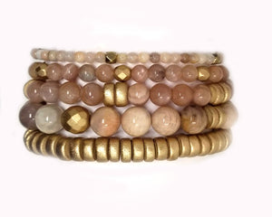 Sunstone stretch individual bracelets or set of 5 bracelets