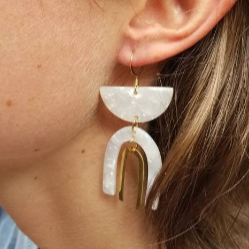 Modern minimalist White acrylic and Brass or Stainless double arc earrings