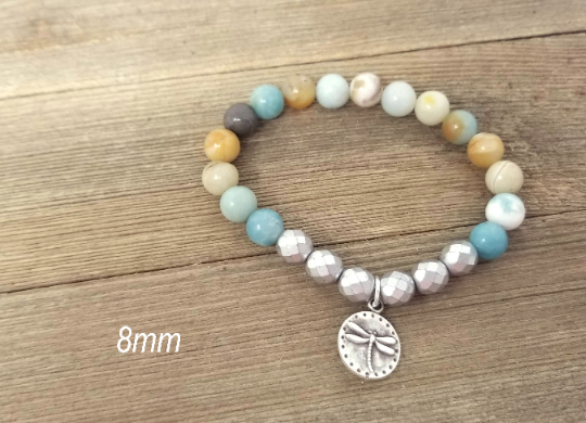 Amazonite and silver stacking bracelets, set of 4