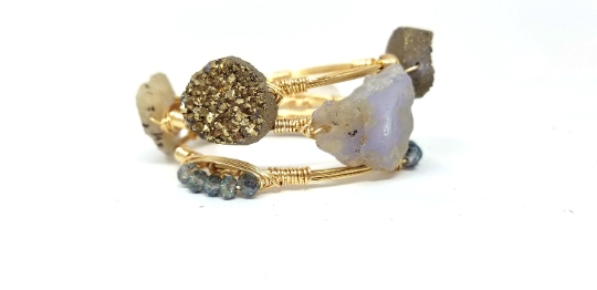 Chalcedony geode, Gold Druzy, and crystal set of 3 wire wrapped neutral bangles