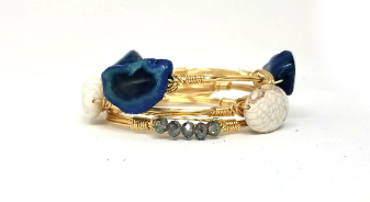 Dark blue agate, crystal, and white howlite oval set of 3 bangle bracelets