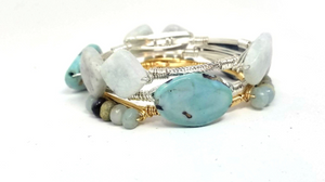 Robin's egg blue agate bangle, amazonite cluster bangle, and serpentine bangle set