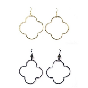 Brushed gold, silver or gunmetal quatrefoil earrings