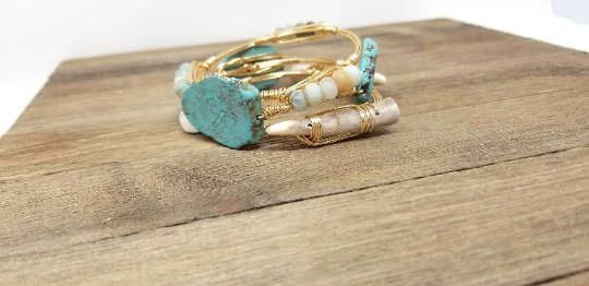 Turquoise bracelet, amazonite bangle and antler bangle set of 3 designer bangle bracelets