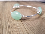 Amazonite cluster bangle, green aventurine bangle and pearl cluster bangle set