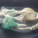 Turquoise, hematite,and silver Set of 3 bangles
