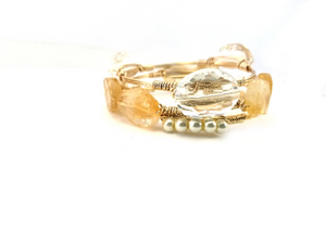 Citrine bangle, mini pearl bracelet, clear crystal oval bangle set