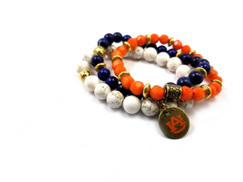 Auburn beaded bracelet set of 3 stretch bracelets, Auburn bracelets, Auburn game day jewelry, AU Tigers bracelets, AU orange and blue