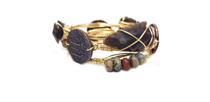 Arrowhead bangle, aqua terra jasper cluster bangle, bronze coin bangle set of 3