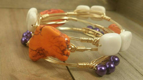Clemson bracelet set, Clemson bangle bracelets, Orange and purple bracelets, Clemson GameDay bracelets set of 3 bangles, college jewelry