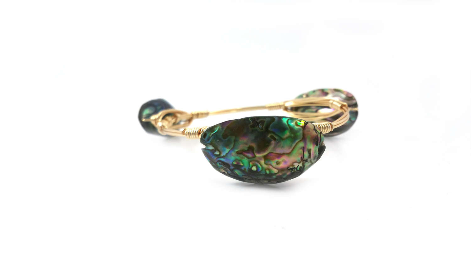 Abalone shell bangle bracelet/ Paua shell bangle bracelet