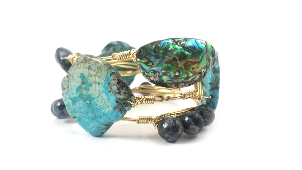 Abalone shell bangle, turquoise bangle, labradorite bangle set of 3 bracelets