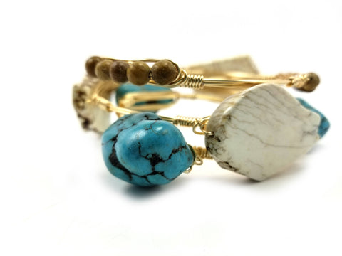 Turquoise and Howlite western bracelet set
