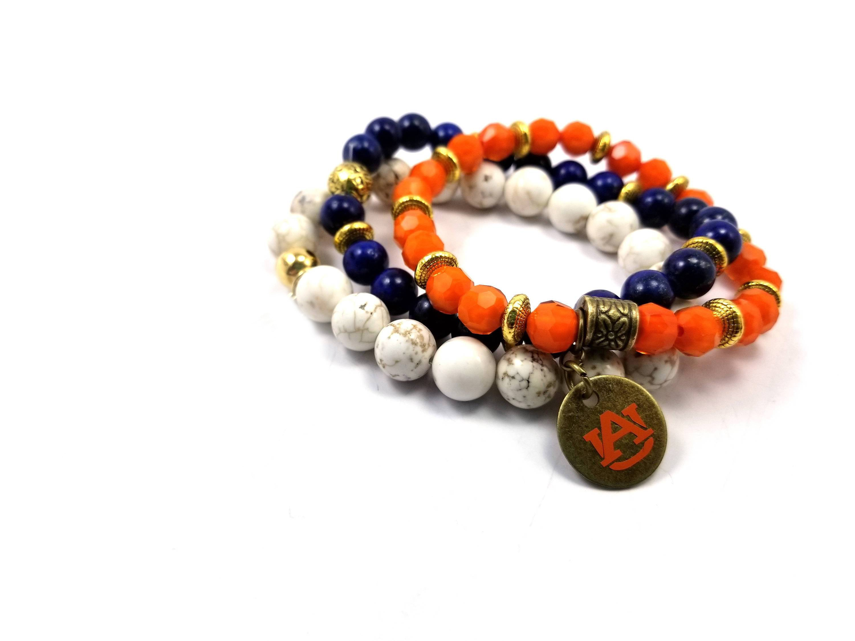 Auburn beaded bracelet , Auburn bracelet, Auburn game day jewelry, AU Tigers bracelets, AU orange bracelet
