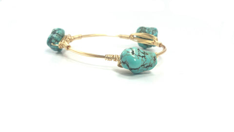 Turquoise nugget bangle bracelet