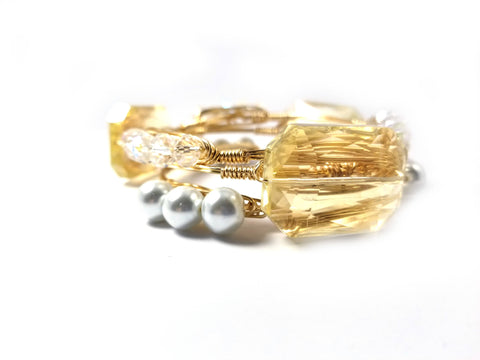 Amber crystal, pearls, and clear crystal set of 3 wire wrapped bangle bracelets