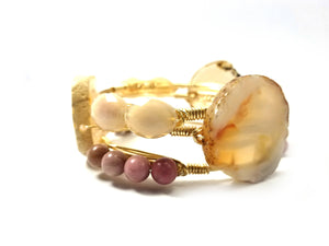 Amber agate slice bangle, rhodonite bracelet, and pearl luster faceted glass bead bangle set
