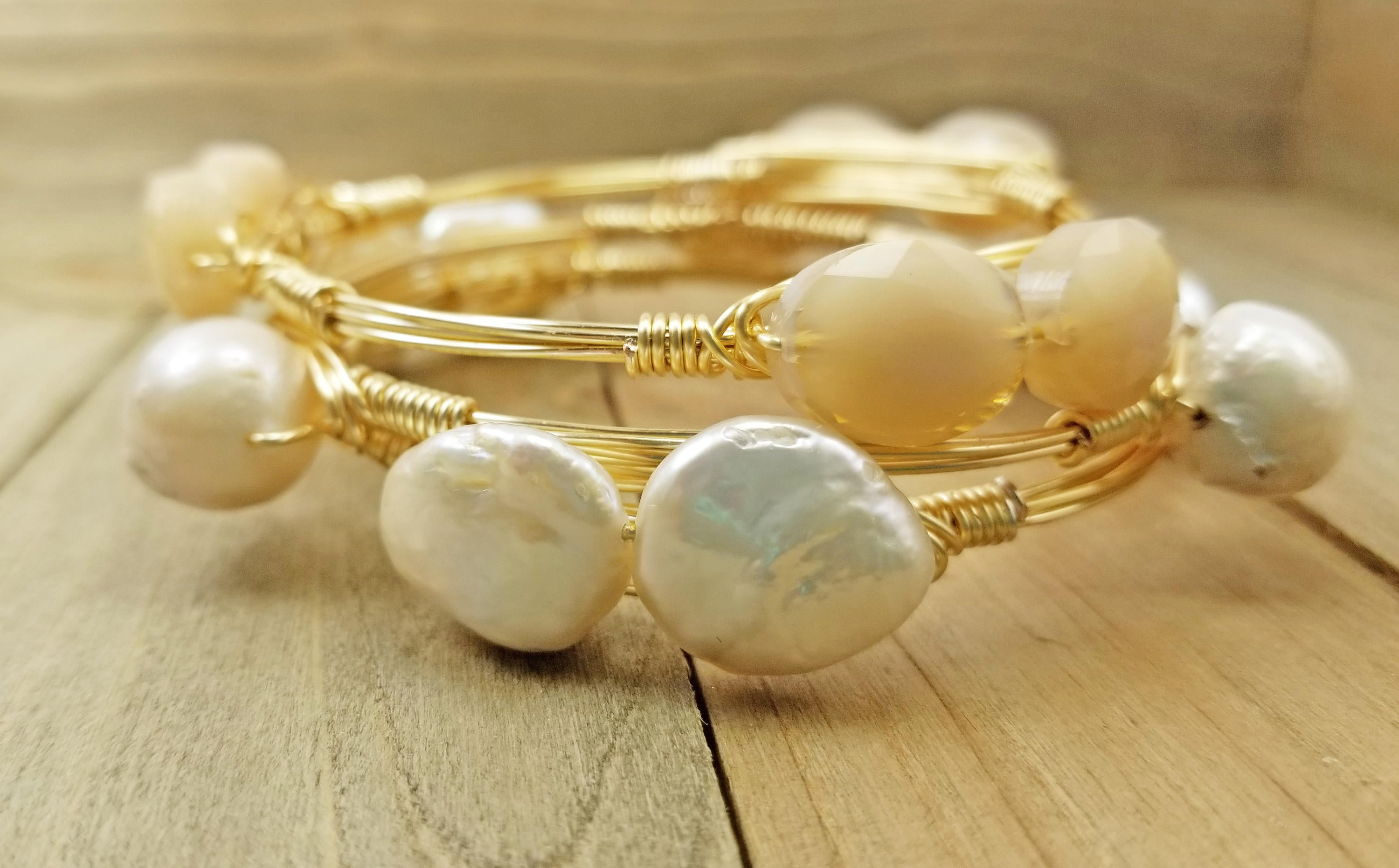 Keshi pearl bangle bracelet