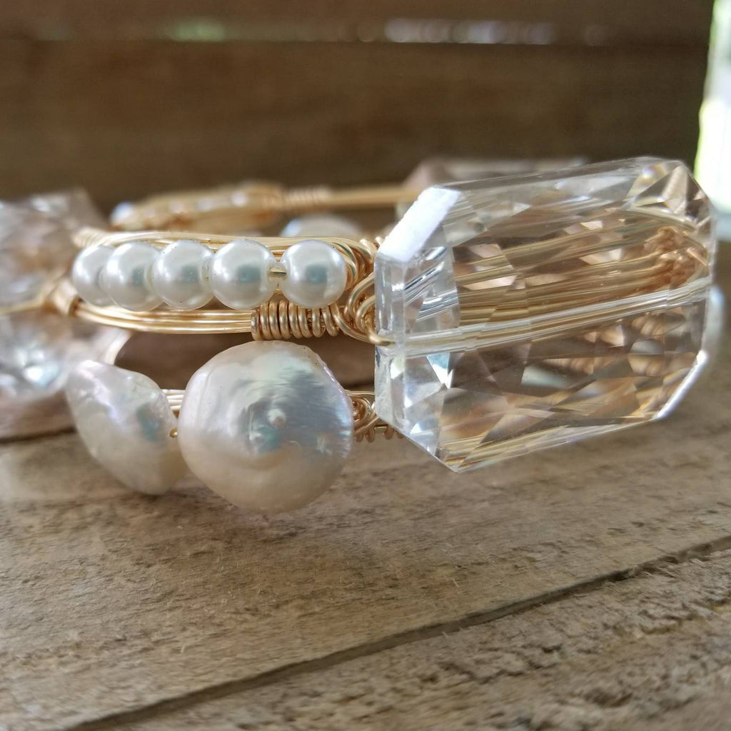 Crystal and keshi pearls set of 3  bangle bracelets
