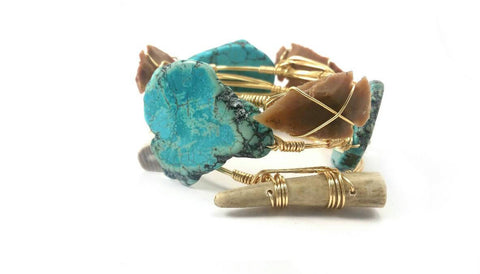 Turquoise bracelet, arrowhead bangle and antler bangle set of 3 bracelets