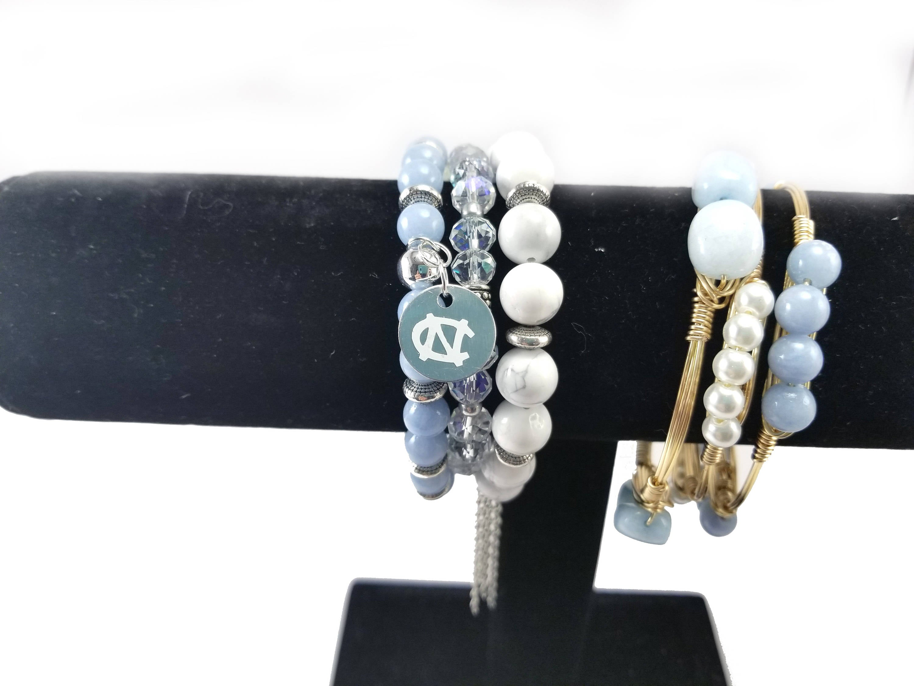UNC game day bracelets set of 3 bangles, University of North Carolina bracelets, tar heels jewelry, Carolina blue jewelry, UNC bracelets