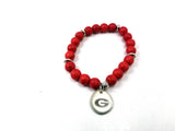 University of Georgia beaded bracelet set of 3 stretch bracelets, Bulldog bracelets, UGA gameday jewelry, Dawg jewelry, Georgia bracelets